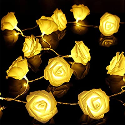 Fairy String Lights Rose Flower 20 LED Battery Operated Decorative Light for Wedding Valentine's Day Dreamlike Party Girl's Bedroom