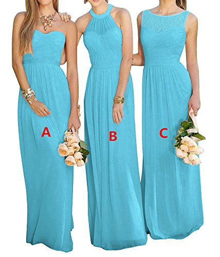 a Dress Long Wedding Sky Line Blue Prom Dress Pink Lovelybride Party Bridesmaid A Chiffon RaqO1Uwvx