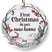 "First Christmas in Our New Home 2019 Christmas Ornament, Whimsical Woodland Ornament, Housewarming Gift, Homeowner Present, 3"" Flat Ceramic Ornament with Gift Box"