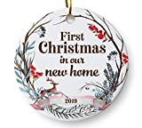 First Christmas in Our New Home 2019 Christmas Ornament, Whimsical Woodland Ornament, Housewarming Gift, Homeowner Present, 3' Flat Ceramic Ornament with Gift Box