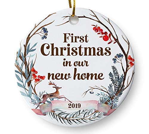First Christmas In Our New Home 2019.First Christmas In Our New Home 2019 Christmas Ornament Whimsical Woodland Ornament Housewarming Gift Homeowner Present 3 Flat Ceramic Ornament