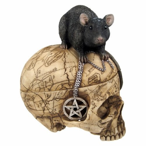 PTC Pacific Giftware Salem Witch Witchcraft Skull with Pentagram Pentacle Mouse Jewelry Trinket Box Statue Figurine