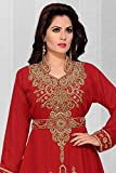 Womens Kaftan Partywear Jalabiya red with Waist Belt Dubai Style