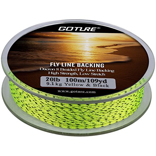 Goture 8 Strands Braided Dacron Fly Fishing Line Backing for Trout Bass Pike in the Saltwater Freshwater 20lb 109yd (20lb Yellow/Black) (Yellow Line Fly Backing)