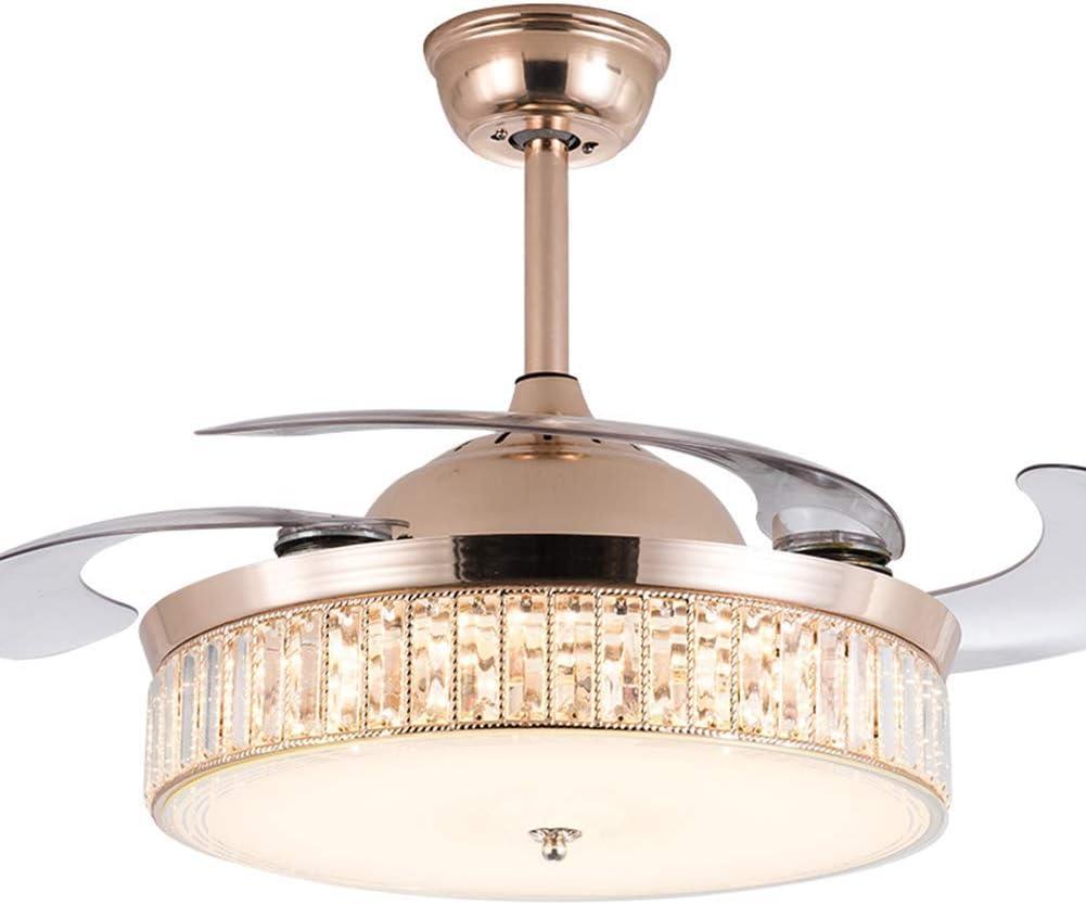 Pengfei Ventilador de Techo de Cristal Moderno con Luces Lámparas LED retráctiles, Luces de Control Remoto, 3 Cambios de Color Ventiladores de lámpara de 3 velocidades, Accesorios silenciosos (36 en