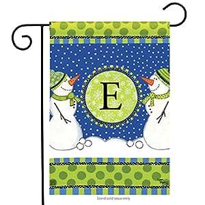 "Winter Frolic Monogram E Garden Flag Snowman Holiday Letter E 12.5"" x 18"""