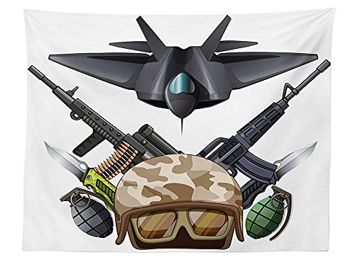 vipsung War Home Decor Tablecloth Weapons and Jet Figure Helmet Rifles Knifes Bombs Bullets Ammunition Print Dining Room Kitchen Rectangular Table Cover Black Green