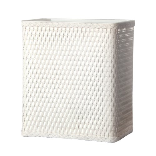 Lamont Home Carter Wicker Waste Basket, White (White Wicker Bathroom Accessories)