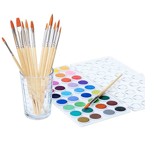 (Watercolor Artist set, 36 Colors, Includes a Variety of 12 Quality Brushes, Everything You Need to Get Started! Brushes Works Great For Watercolor and Acrylic (Watercolor)