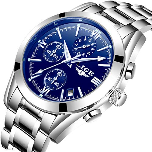 Watches Mens Waterproof Stainless Steel Analog Quazrt Wrist Watch Man Luxury Brand LIGE Business Dress Silver Blue - Used Watches Mens