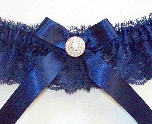 Chantilly Crystal (Navy Bridal Garter of Chantilly Lace Accented with a Navy Bow and Crystal Center, Includes Satin Band Toss - The LAUREN Garter Set)