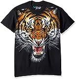 Liquid Blue Men's Tiger Face T-Shirt, Black, 2XL