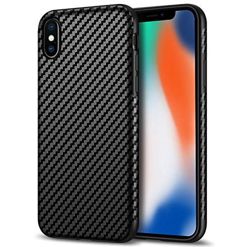 (Tasikar Compatible with iPhone X Case/iPhone Xs Case Good Grip Slim Carbon Fiber Leather Case for iPhone Xs (2018) / iPhone X (2017) - Black )