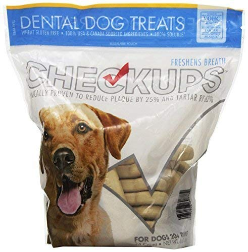 Bright Bites Dog Treats - Checkups- Dental Dog Treats, 24ct 48 oz. for dogs 20+ pounds 1 Pack