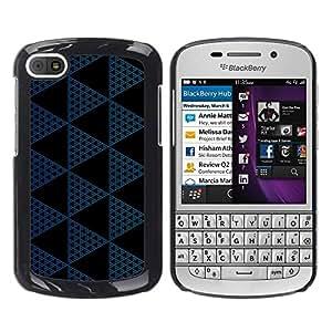 TopCaseStore / la caja del caucho duro de la cubierta de protección de la piel - Polygon Pattern Black Navy Blue - BlackBerry Q10