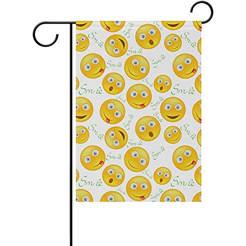 JAYESH Seamless Background Emoji Emotions Polyester Garden Flag House Banner 12 x 18 inch, Two Sided Welcome Yard Decoration Flag for Wedding Party Home -