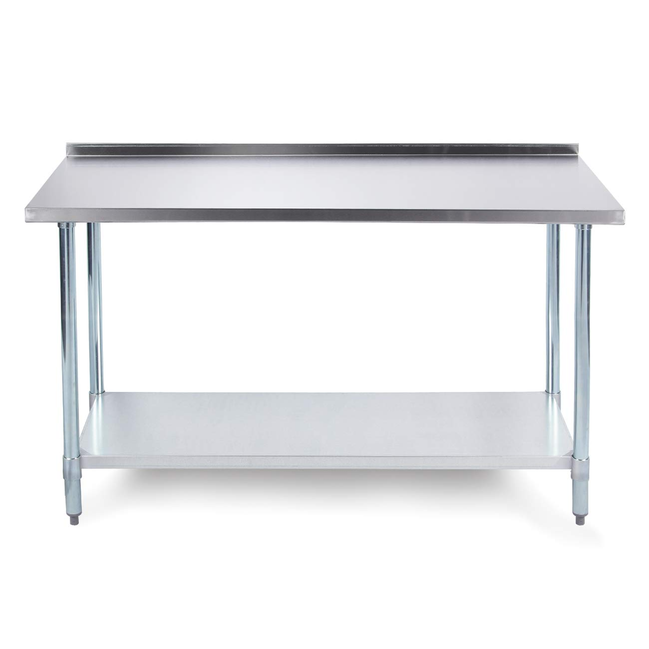 ARKSEN Commercial Kitchen Laundry Garage Work Prep Table w/Galvanized Undershelf and Backsplash, 18 Gauge 72'' x 24''