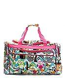 Owl Chevron Stripe Canvas Large Duffel Weekender Bag (PINK)
