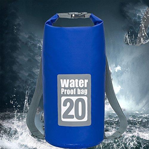 Exterior Zip Pocket - FYU Waterproof Dry Bag 10L/20L [Lightweight Compact] Roll Top Water Proof Backpack with 2 Exterior Zip Pocket for Kayaking, Boating, Duffle, Camping, Floating, Rafting, Fishing