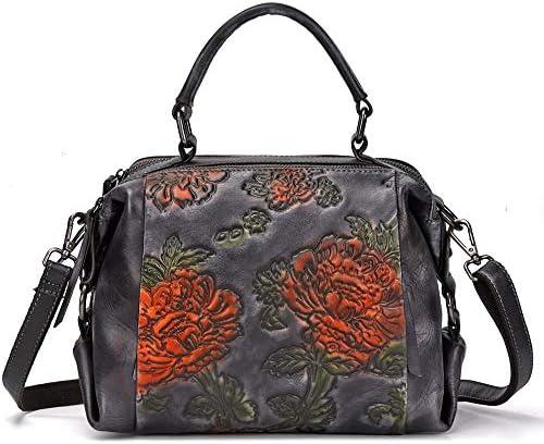 ハンドバッグ - 三次元の型押しレザートートバッグ、ヴィンテージショルダーバッグメッセンジャーバッグ、牛革、25 * 15 * 18センチメートル よくできた (Color : Black)