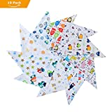 Labebe Baby Bandana Bibs Drool/Burpy Bibs Unisex 10-Pack Multicolor, 100% Cotton, Newborn Baby Shower Gift for Teething and Drooling, Soft & Absorbent, Machine Washable and Stain Proof - Unisex Pack D