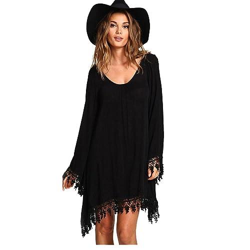 JXLOULAN Para mujer suelta y cómoda de un vestido de la playa Negro Cuerno manga del cordón grande
