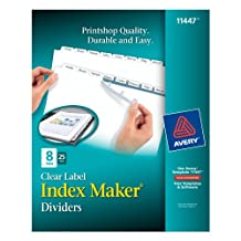 Avery Index Maker Clear Label Dividers with Easy Apply Labels for Laser and Inkjet Printers, 8 tabs, White, 25 Sets, (11447)