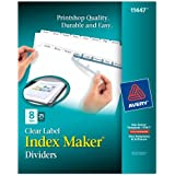Avery Index Maker Clear Label Dividers, 8 Tab, 25 Sets (11447)