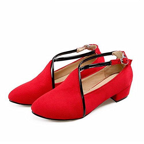 Allhqfashion Womens Frosted Gesp Puntige Teen Lage Hakken Stevige Pumps-schoenen Rood