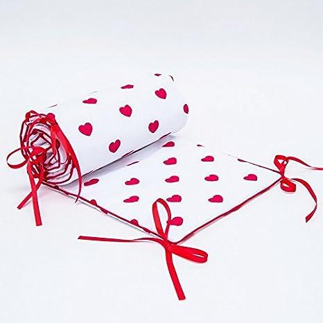 Callyna ®   Tour De Lit Bébé évolutif. 100% Coton. Blanc Cœur Rouge