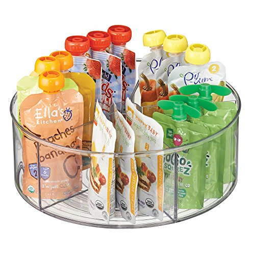mDesign Divided Lazy Susan Turntable Storage Container for Kitchen Cabinets, Pantries, Refrigerator, Countertops - BPA Free & Food Safe – Spinning Organizer for Kids, Baby/Toddler, 5 Sections - Clear by mDesign (Image #1)