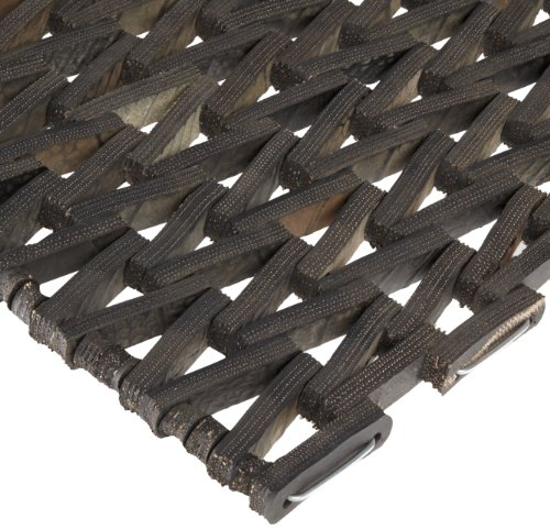 "Durable Durite Recycled Tire-Link Outdoor Entrance Mat, Herringbone Weave, 14"" x 22"", Black"