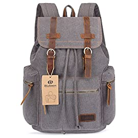 "BLUBOON Canvas Vintage Backpack Leather Trim Casual Bookbag Men Women Laptop Travel Rucksack 8 Specifications: Material: Canvas & Genuine Leather Gender: Unisex Item Type: Canvas Vintage Backpack This canvas backpack can fit 15.6"" laptop Closure Type: Drawstring Backpacks Type: Softback Adjustable shoulder straps Craft from sturdy and durable canvas Has leather straps and accents Grab top handle Flap front with twin buckle straps Front / side storage zip-up pockets offer more space Interior zip-up / open pockets to hold accessoriesThe leather closure straps and the leather zipper pulls are a very nice touch Backpack Usage: Traveling, Hiking, Camping, Shopping, School, Daily use, etc"