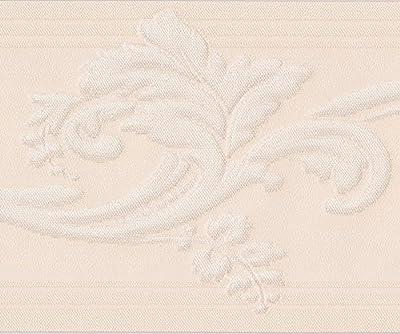 White Vine Creme Damask Wallpaper Border Retro Design, Roll 15' x 5''