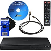 Samsung BD-J5100 Curved Disk Blu-ray Player with Remote Control + Xtech Blu-Ray Disc Laser Lens Cleaner + Xtech High-Speed HDMI Cable w/Ethernet + HeroFiber Ultra Gentle Cleaning Cloth