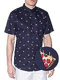 Visive Hawaiian Shirts For Mens | Pizza Short Sleeve Button Down Modern Fit Woven Shirt (Pizza,XXX-Large)