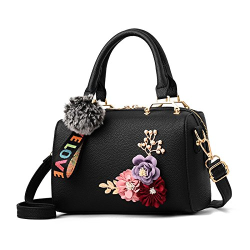 Floral Summer Black Tote Leather shaped Barrel Sodial Bag Bags Women's Fashion Women Shoulder Elegant Handbag Fwdtq4