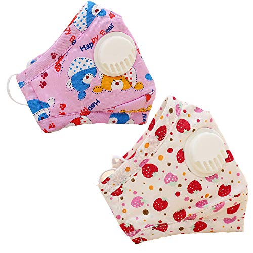 (2 Packs Kids Dust Masks Reusable with Exhalation Valve for Face, PM2.5 Particulate Respirators Mouth Mask with Activated Carbon Filter Insert Adjustable Earloops (Red))