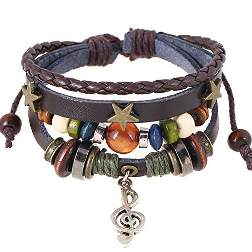 Personalized Name Earring Jewelry Plate (HIRIRI Fashion Women Handmade Multilayer Alloy Music Note Star Beads Weave Wrist Band Leather Bracelet Bangle (Brown))