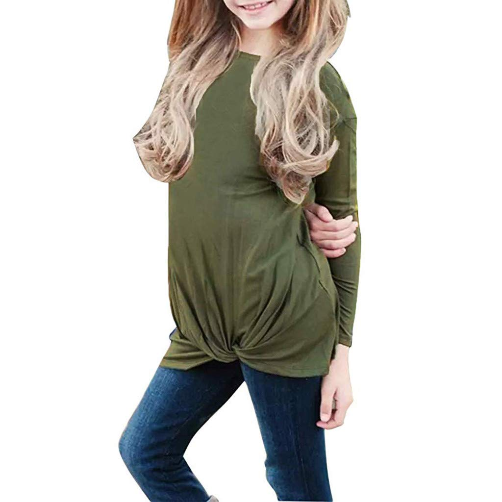 Fineser Little Girls Long Sleeve Casual Tops Knot Front Tee Shirts Blouse Round Neck Tunic Blouse Clothes Outfits 4-13Y (Army Green, 4-5 Years(S))