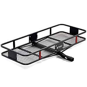"60"" x 22.5"" Cargo Hitch Carrier by Vault - Haul Your Cooler & Camping Gear with this Rugged Steel Storage Rack & Basket for Your Truck or SUV - Easily Mounts to Trailer Towing Hitches"