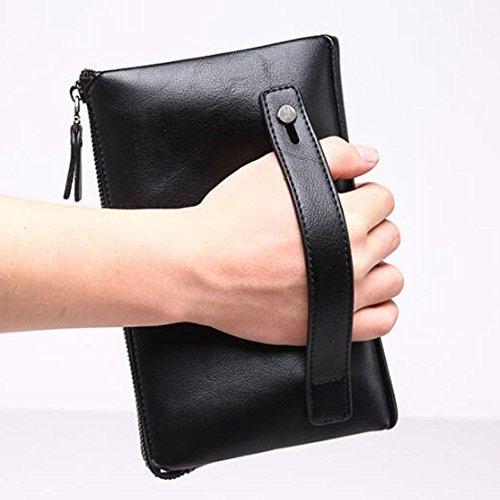 Hombres de LEIU Bolsa Bolso Bolsa Mano Hombres Mano Grab Embrague Hombres para Bolso Billetera Black Bolsa de Mano Billetera Mano PU Negocio wPIrw8