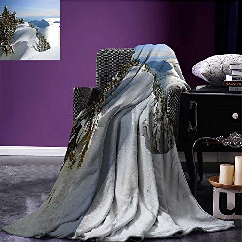 RenteriaDecor Winter Throw Blanket Pacific Ocean Meets The Mountains Vancouver British Columbia Canada Wilderness Scenery Warm All Season Blanket for Bed or Couch 62