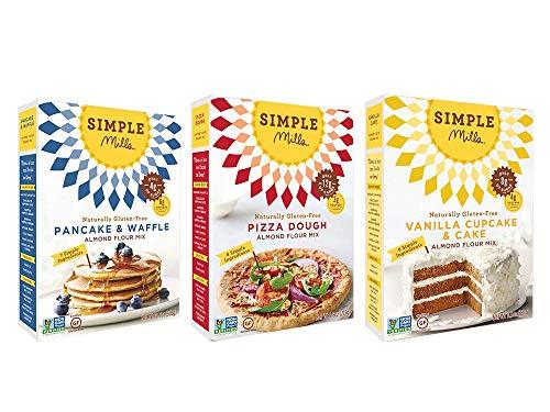 Simple Mills Almond Flour Mix Variety Pack:, (1) Pancake & Waffle, (1) Pizza Dough, (1) Vanilla Cupcake & Cake, 3 count