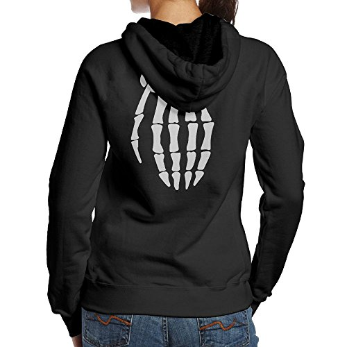 Women's SKELETON GRENADE HAND Halloween Spooky Cool Travel Particular Hoodie Hooded Sweatshirt Size L Black