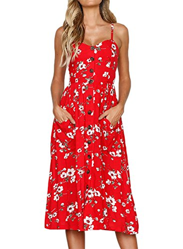HOTAPEI Womens Sunflower Print Spaghetti Straps Button Down Boho Midi Dresses Beach Sundresses with Pockets