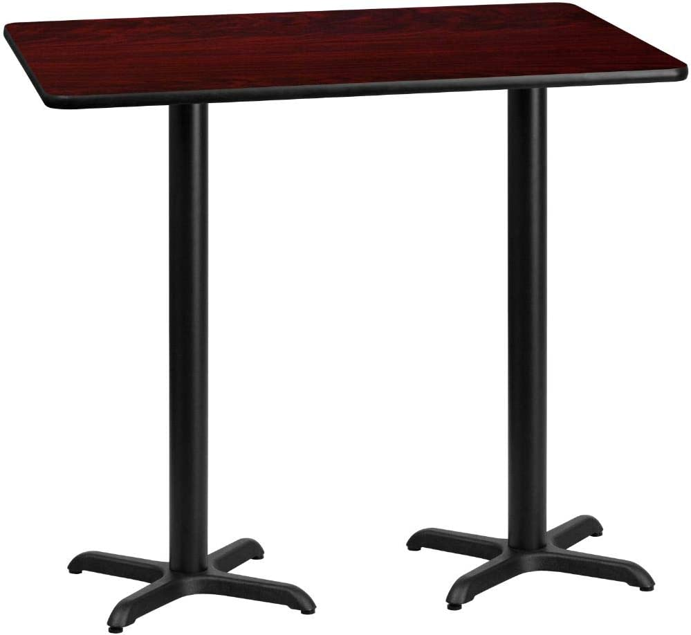 Flash Furniture 30'' x 60'' Rectangular Mahogany Laminate Table Top with 22'' x 22'' Bar Height Table Bases