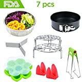 Instant Pot Accessories Kit: 7 Pieces - Springform Cake Pan/Steamer Basket Inserts/Egg Steamer Rack/Silicone Egg Bites Molds/Oven Mitts/Dish Clip Food Tongs For 6,8 Qt Pressure Cooker