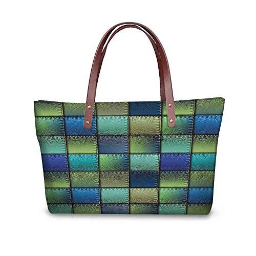 Custom Handbag Tote Shopping Bags Fabric,Modern Geometric Bohemian Paisley Details in Square Shaped Backdrop Pieces Artwork,Blue Green Printing Tote Zip Bag Size:19.2