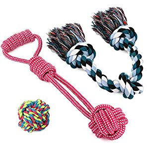 WILLNORN Dog Pet Toy Rope Tug Ball Set with 3 Knot for Large Dogs (Set of 3)